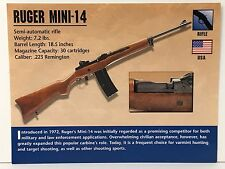 Ruger Mini 14-Rifle .223 Remington Firearms Atlas Photo Spec History Card USA