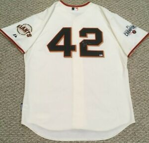 PETIT size 50 #42 2015 SAN FRANCISCO GIANTS GAME USED jersey home cream JR MLB