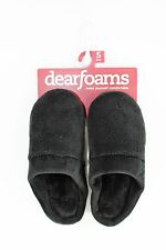 Dearfoams Black Terry Slip-on Slippers... size Small 5/6  NWT