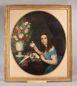 Life-Sized Antique 19thC American Folk Art Portrait Painting Young Girl Flowers
