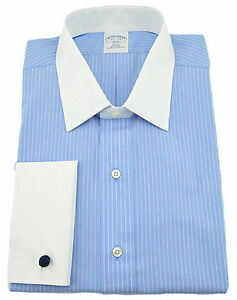 $150 BROOKS BROTHERS Blue White Striped French Cuffs Mens Shirt NEW COLLECTION