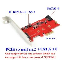 M.2 PCIe SSD to PCIe 3.0 X1 and M.2 SATA SSD to SATA III Adapter Card