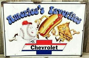 Americas Favorites Chevrolet Baseball Hot Dogs Apple Pie Embossed Tin Sign Chevy