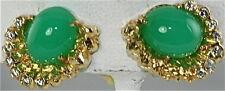 VTG 18K GOLD CHRYSOPRASE DIAMOND CLIP EARRINGS