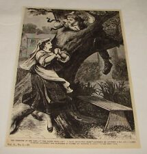 1880 magazine engraving ~ MAN FINDING CROSS NECKLACE IN TREE