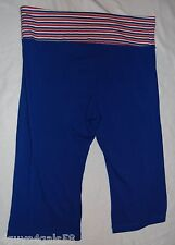 Womens Capris ROYAL BLUE Striped Fold Down Waist Band STRETCH Pull On S 4-6