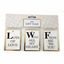 12 Luxury Gold Foil Gift Tags Present Wedding Birthday Love Golden Anniversary