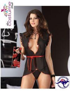 SEXY Black Sheer Waistcoat Babydoll Lingerie Petite Size 6 - 10 AU