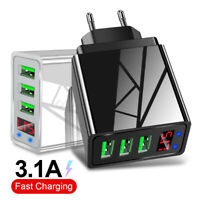 3 USB Phone Charger LED Display Wall Fast Charger Charging Adapter EU/US/UK Plug