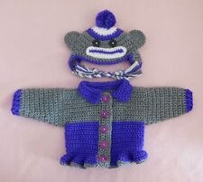 """American Girl Doll Clothes Purple Sock Monkey Sweater Hat Fit American Girl 18"""""""