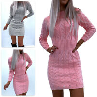 Womens Knitted Sweater Bodycon Mini Dress Ladies Long Sleeve Jumper Party Wear