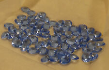 288 vintage blue glass faceted no foil pointback ovals 12 x 10mm table cut Czech