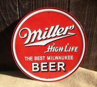 Miller High Life Best Milwaukee Beer Round Tin Metal Sign Wall Garage Classic