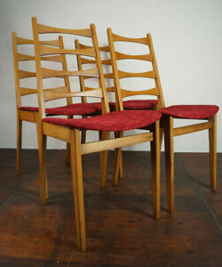 4x Vintage Chairs Danish Modern Retro Dining Room Chair mid-Century Wood