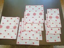 New listing 8 Pc Vtg Table Linen Set Runner, Napkins, Doilies, White Red Embroidered Flower