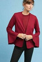 NEW $148 Anthropologie Samantha Dru Size LARGE Red Aria Bell Sleeved Jacket L