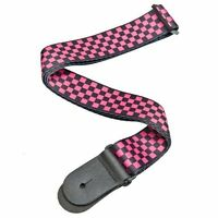 Planet Waves Woven Guitar Strap, Black/Pink Checker Pattern