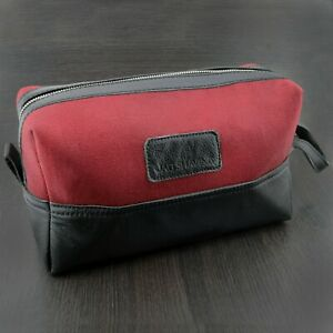 Toiletry Bag Men's Shaving Travel Case Waterproof Interior Cow Leather & Canvas