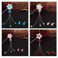 Chinese Hair Fork Stick Chopstick Flower Hairpin Chignon Pin Earrings Set