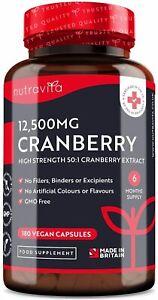 Cranberry 180 Kapseln HOCHDOSIERT Cranberry-Extrakt 12.500 mg 100% NATÜRLICH