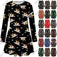 New Womens Reindeer Santa Print Xmas Long Sleeve Party Swing Dress PlusSize 8-34