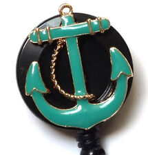 Retractable ID badge holder reel - TURQUOISE ANCHOR