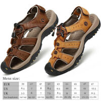 2019 Men's Leather Sandals Hiking Closed Toe Beach Slip On Water Fisherman shoes