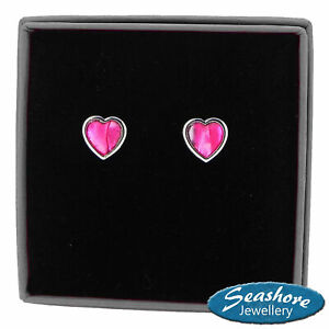 Heart Earrings Pink Paua Abalone Shell Womens Womens Silver Jewellery Gift Boxed