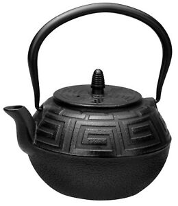 New AVANTI Majestic Cast Iron Teapot 1.2 Litre Black Coffee Tea Kettle Infuser
