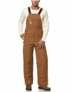 Carhartt Men's Quilt Lined Zip To Thigh Bib, Brown, Size 36W x 30L 1dl7