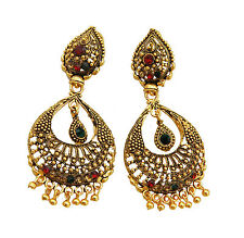 Jwellmart Indian Ethnic Bollywood Gold Polish Multi Color CZ Earrings Free Ship