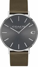 COACH MENS CHARLES WATCH MEDIUM GREY LEATHER NEW IN BOX