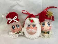 Santa And Mrs Claus Vintage Christmas Ornaments Set Of 3 Collectibles