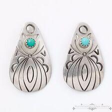 Vintage Native Navajo Pawn Sterling Silver TG Sleeping Beauty Turquoise Earrings
