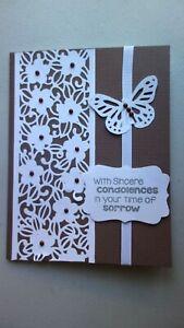 Handmade Sympathy Card W/Martha Stewart Butterfly Using Stampin Up Sue Wilson