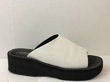 Xhilaration Womens 8 Med Wedge High Heel Slides Sandals Shoes Casual White Black