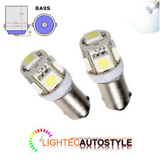 2x LIGHTEC 5 SMD LED 233 BA9S T4W BAYONET CAP HID XENON WHITE SIDE LIGHT BULB