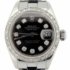 Rolex Datejust Lady Stainless Steel Watch Oyster Black Diamond Dial .70ct Bezel