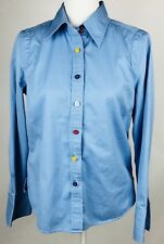 Tommy Hilfiger Womens Shirt Large Button Down Blue Colored Buttons Long Sleeve