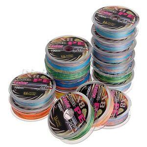 100M Braided Line 8 Strands Multi-color Spectra 100% PE Fishing Line 12LB-125LB