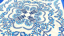 Blue & White Floral & Baskets Hand Applique Quilt Top incredible small details