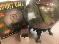 """Gemmy Halloween Large 14"""" Spirit Crystal Ball Green Brain Monster W/ Adapter"""