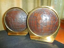 Global Bookends Brass and Leather