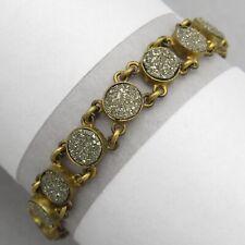 Antique Victorian Gold Filled GF Pyrite Fool's Gold Link Bracelet