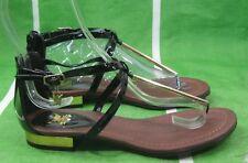"New LADIES Summer Black/Gold Womens Shoes Half"" Block Heel Sandals Size 9"