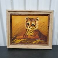 "VTG R. Vasquez Tiger Cub Oil On Canvas Framed Painting Small 12"" x 10"""
