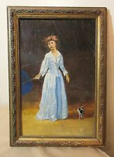 antique 19th century original girl and dog in rain oil painting on wood panel JG