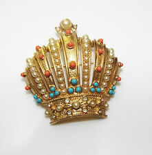 Joan Rivers signed CROWN pin BROOCH faux coral faux turquoise rhinestone