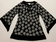 Dressbarn Womens Top Size Small Black & Gray Dots Pleated Tunic 3/4 Bell Sleeve