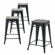 Set of Four Matte Black 24 Inches Counter High Metal Bar Stools, Indoor/Outdoor